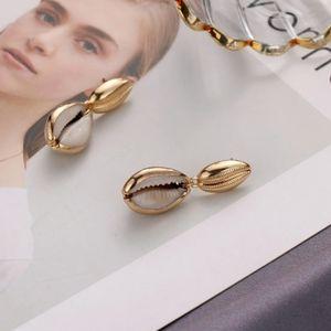 Jewelry - 18K Gold Plated Sea Cowrie Shell Drop Earrings